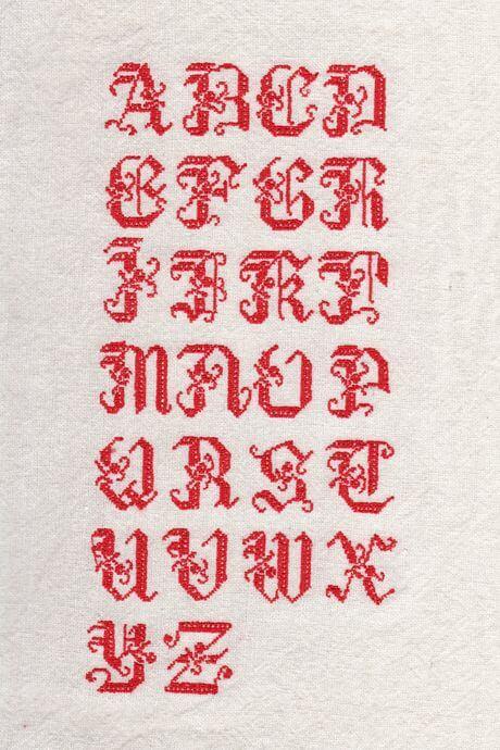 リネンハンカチ:赤糸イニシャルクロスステッチ刺繡見本