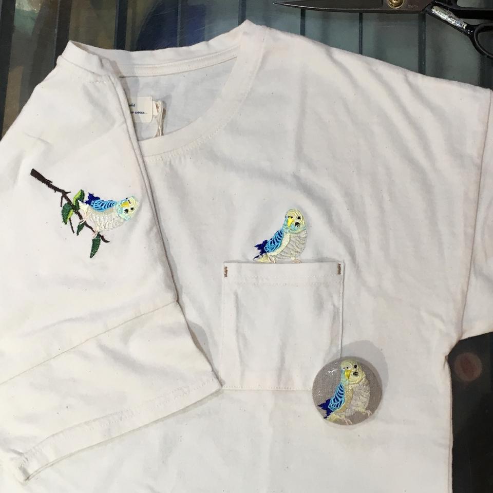 オーダー鳥Tシャツ刺繍-06