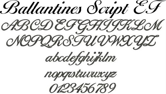 アルファベットBallantines Script(バランタイン・スクリプト)のフォントイメージ