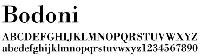 文字(フォント)Bodoni(ボドニ)書体のサンプル