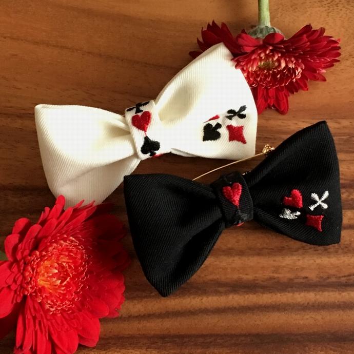 刺繍蝶ネクタイ/トランプカード白黒