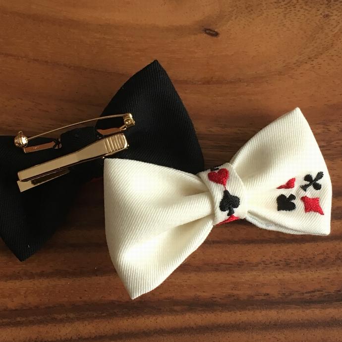 刺繍蝶ネクタイ/トランプカード背面加工