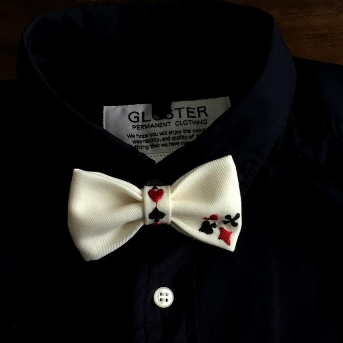 刺繍蝶ネクタイ/トランプカードシャツ黒