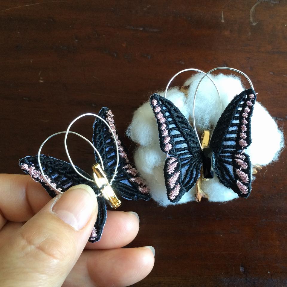 蝶々刺繍ブローチ/ハンド2羽Black