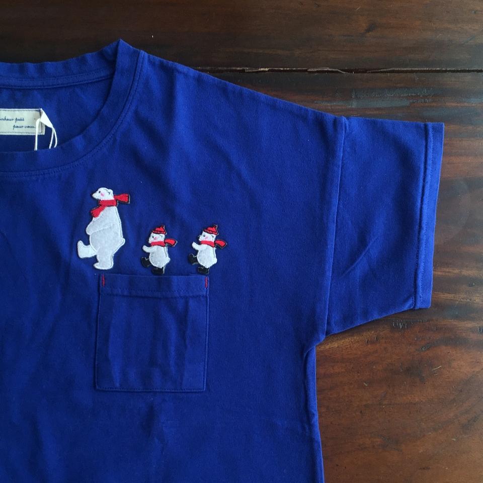 [白クマの行進]刺繍Tシャツ襟袖アップ