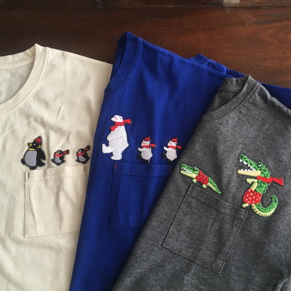 [行進]刺繍Tシャツ3種平置き