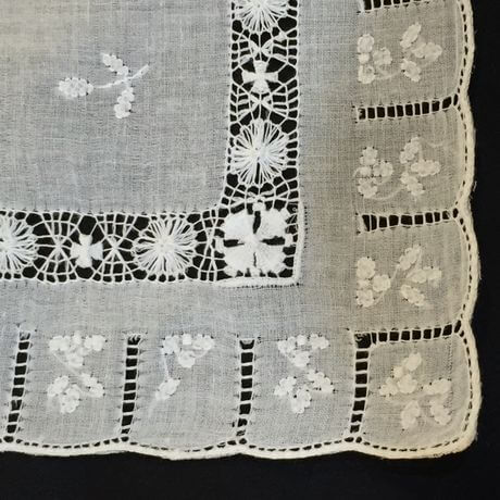 Buranoハンドワーク刺繡ハンカチーフ:スリットスクエア角
