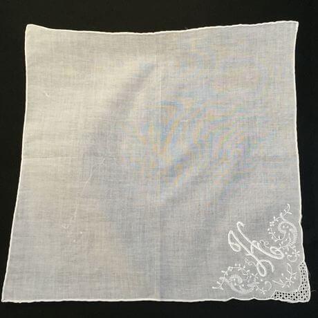 Buranoハンドワーク刺繡ハンカチーフ:イニシャル H正方形