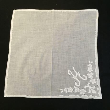 Buranoハンドワーク刺繡ハンカチーフ:イニシャル正方形H