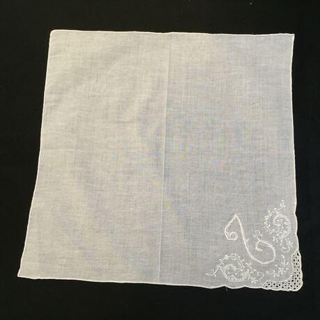 Buranoハンドワーク刺繡ハンカチーフ:イニシャル L正方形