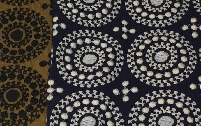 サークル刺繡ハンカチーフINDIA2色