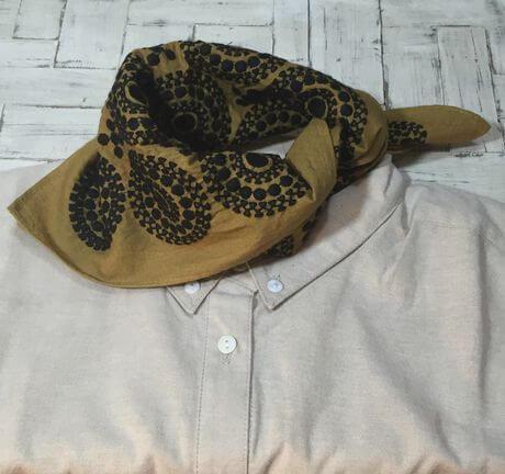 サークル刺繡ハンカチーフINDIAスカーフYE