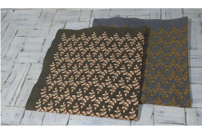 リーフフラワー刺繡ハンカチーフINDIA2色