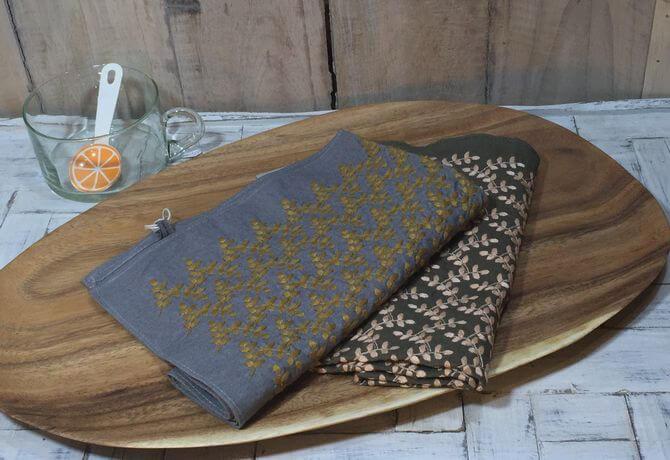 リーフフラワー刺繡ハンカチーフINDIAお皿へ