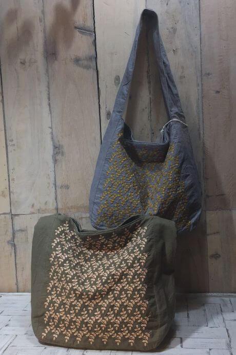 リーフフラワー刺繡ハンカチーフINDIAバック