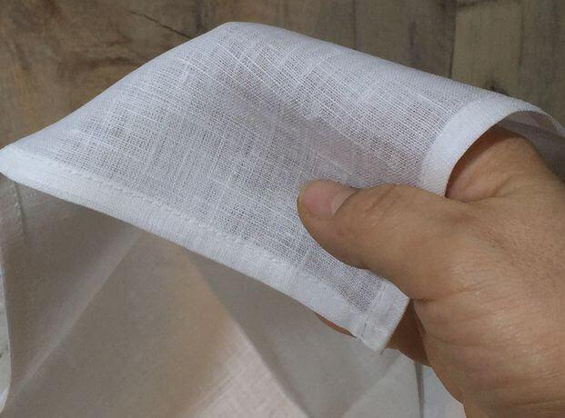 リネンハンカチ:黒糸クロスステッチ刺繡ハンド