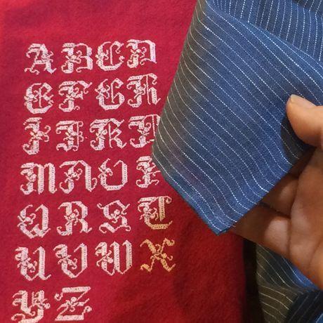 リネンハンカチ:白糸イニシャル刺繡navystripe