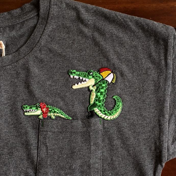 ワニ行進[パラソル]刺繍Tシャツ