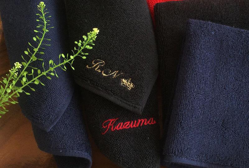 今治タオルハンカチ[男メンズ]アルファベット(筆記体)ネーム刺繍