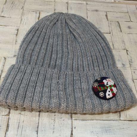 スノーマンsnow ボタンブローチ帽子