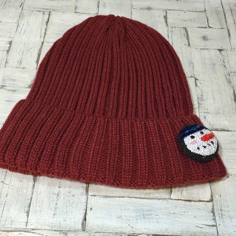 スノーマン人参刺繍くるみボタンブローチニット帽