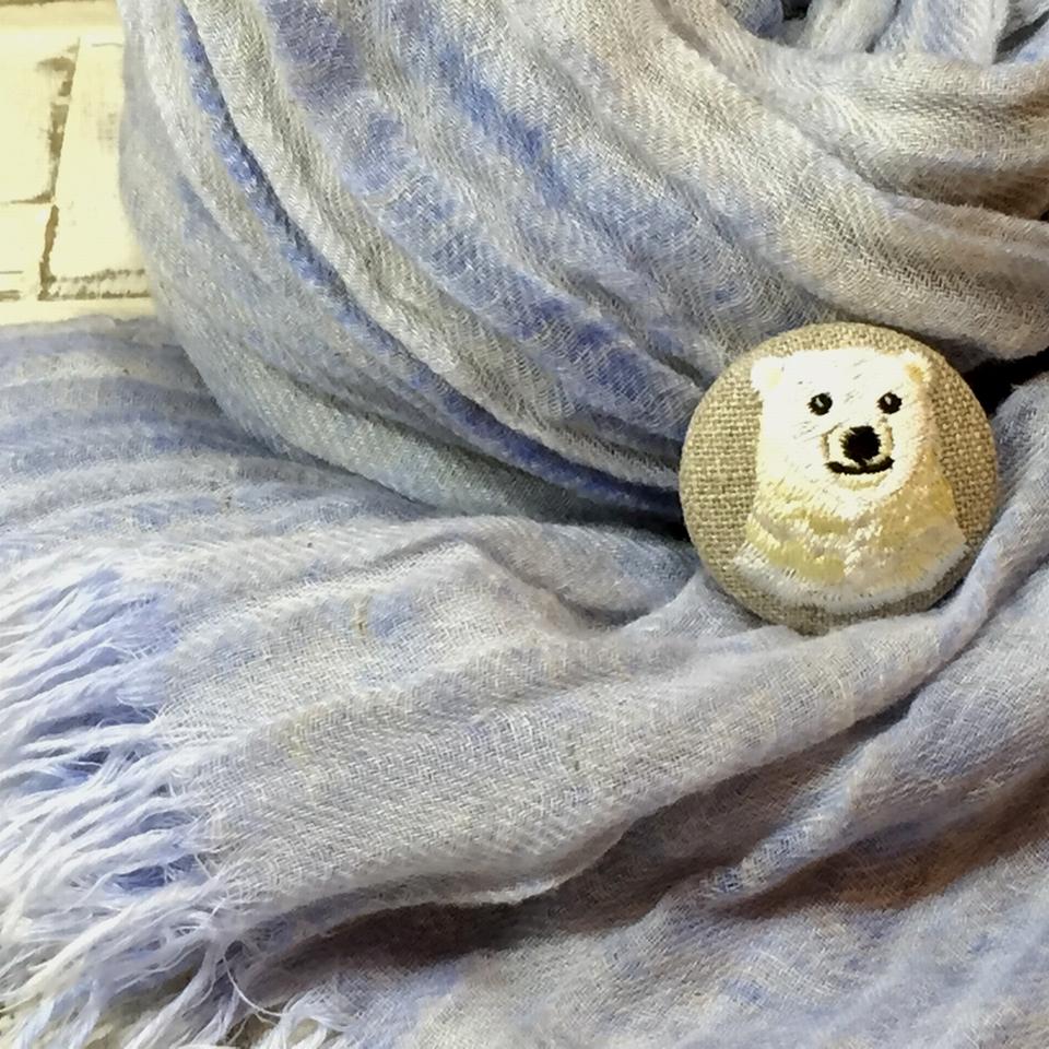 白熊ママ[黄]刺繍くるみボタン/ストール