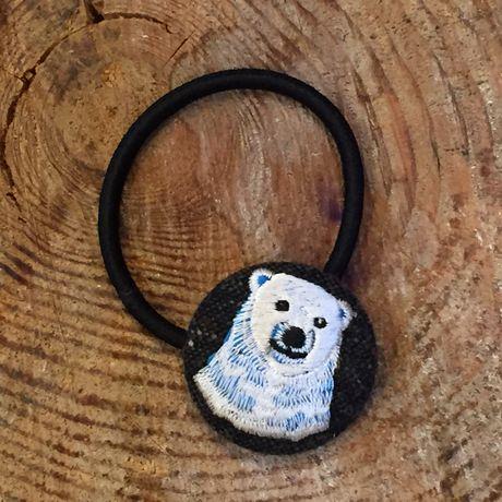 白熊ママ[青]刺繍くるみボタンヘアゴムWT