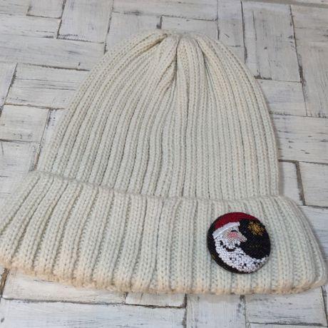 サンタmoonボタンブローチニット帽