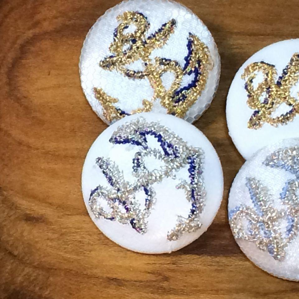 イカリ刺繍くるみボタン29/silver・gold