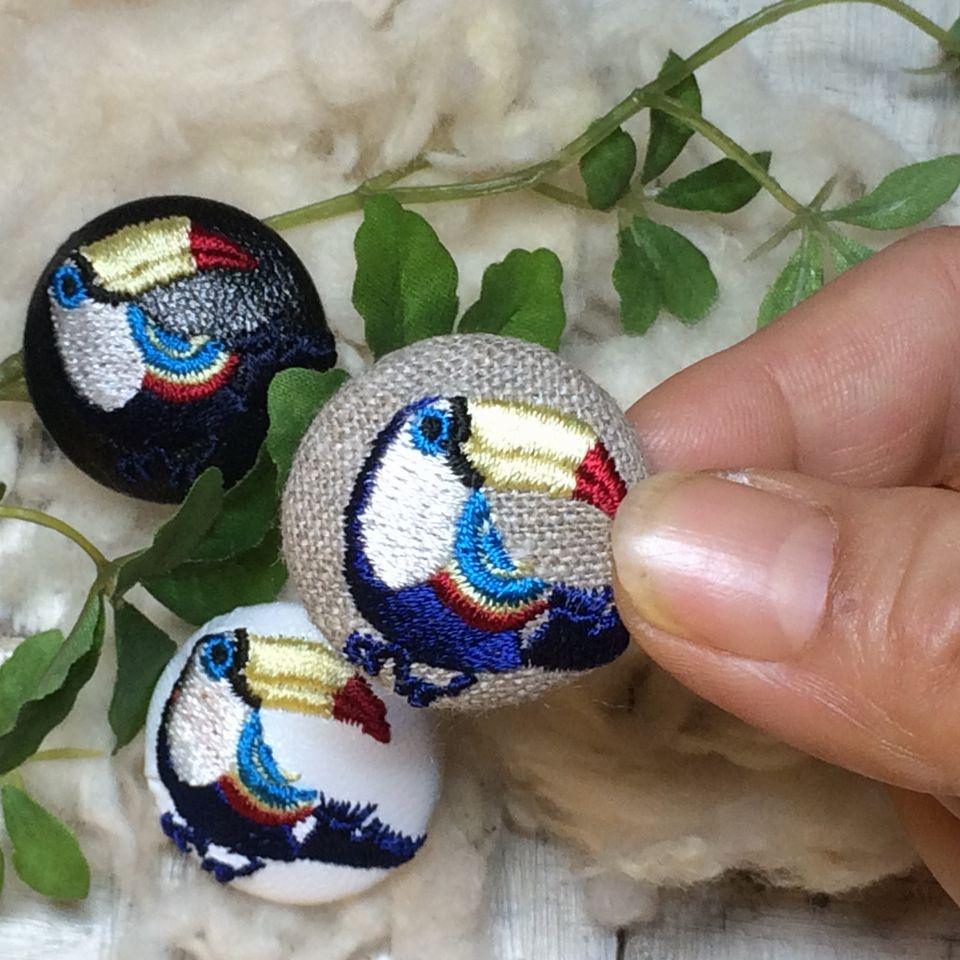 オオハシ刺繍くるみボタン[紺]ハンド