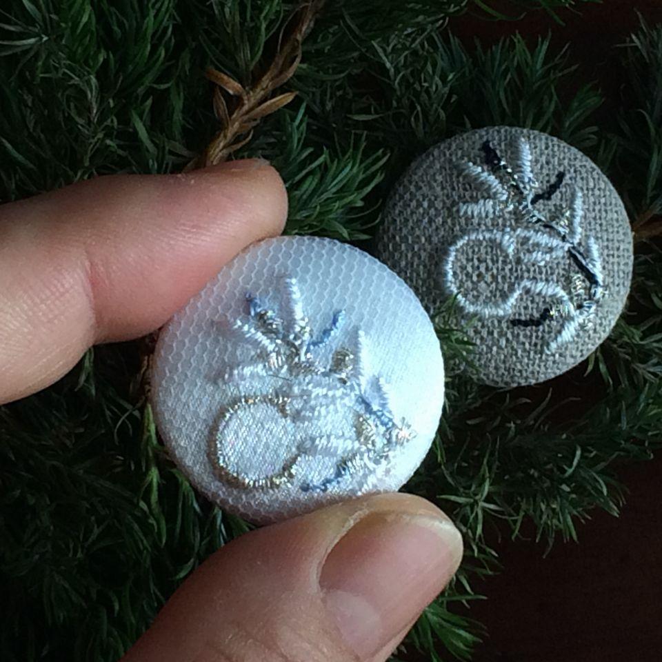 イニシャルオリーブ[C]刺繍くるみボタンハンド