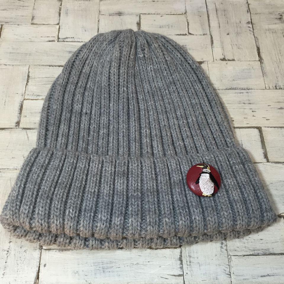 ペンギン刺繍くるみボタン29/帽子赤革