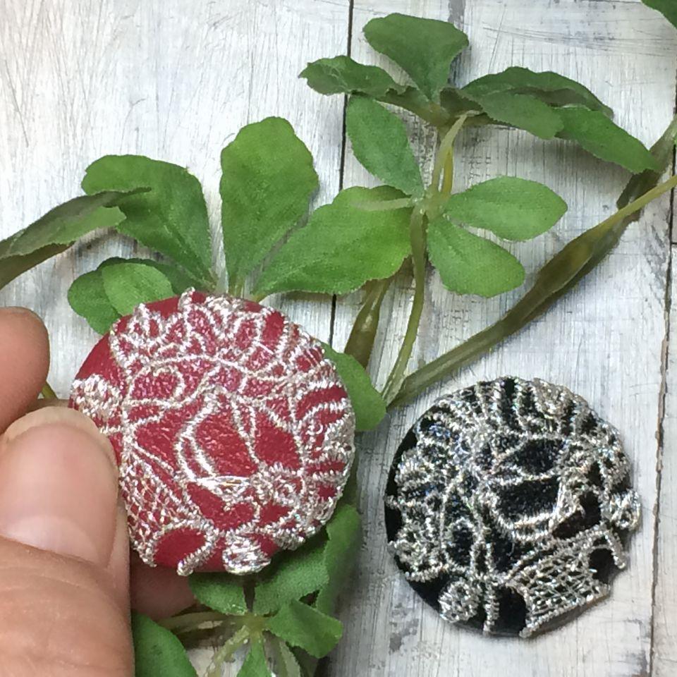 鳥カゴ[銀]刺繍くるみボタン/ハンド