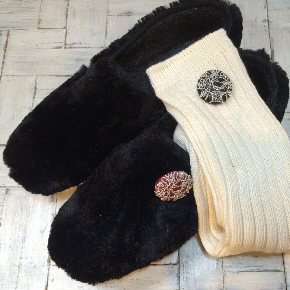 鳥カゴ[銀]刺繍くるみボタン/靴と靴下