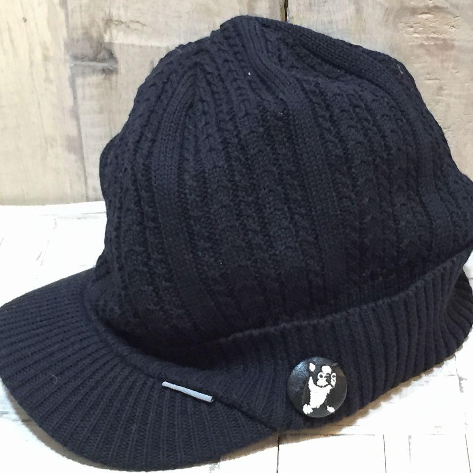 フレンチブルドッグ[白]刺繍くるみボタン帽子