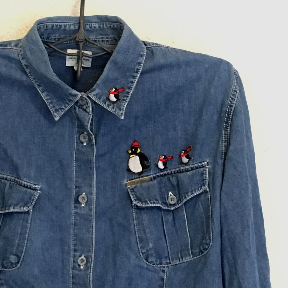 ペンギンの行進刺繍ワッペン/デニムシャツアップ