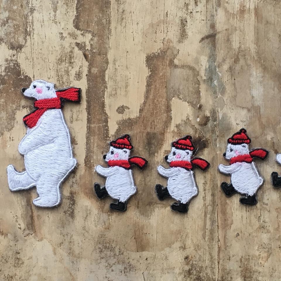 白クマの行進親子刺繍ワッペン/行進子3親1
