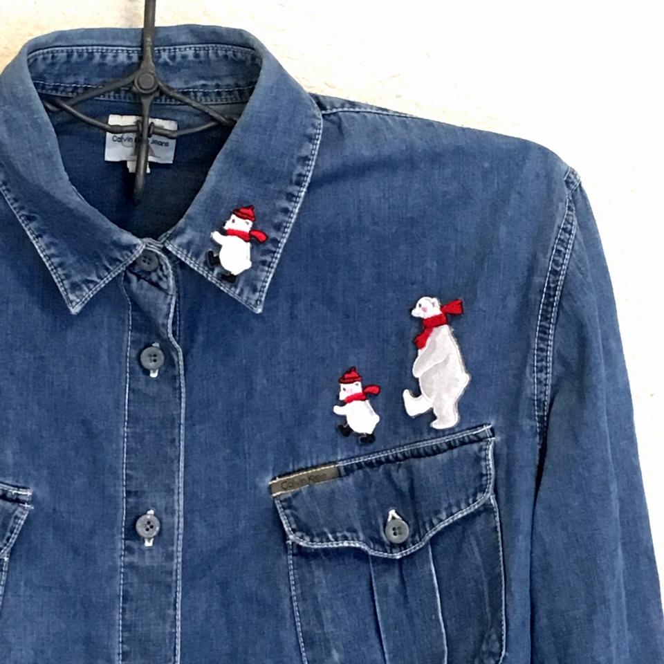 白クマの行進親子刺繍ワッペン/シャツアップ