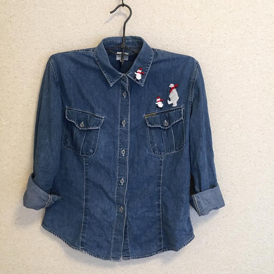 白クマの行進親子刺繍ワッペン/シャツ全体