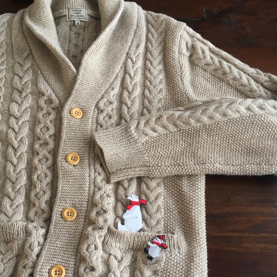 白クマの行進親子刺繍ワッペン/ニット2