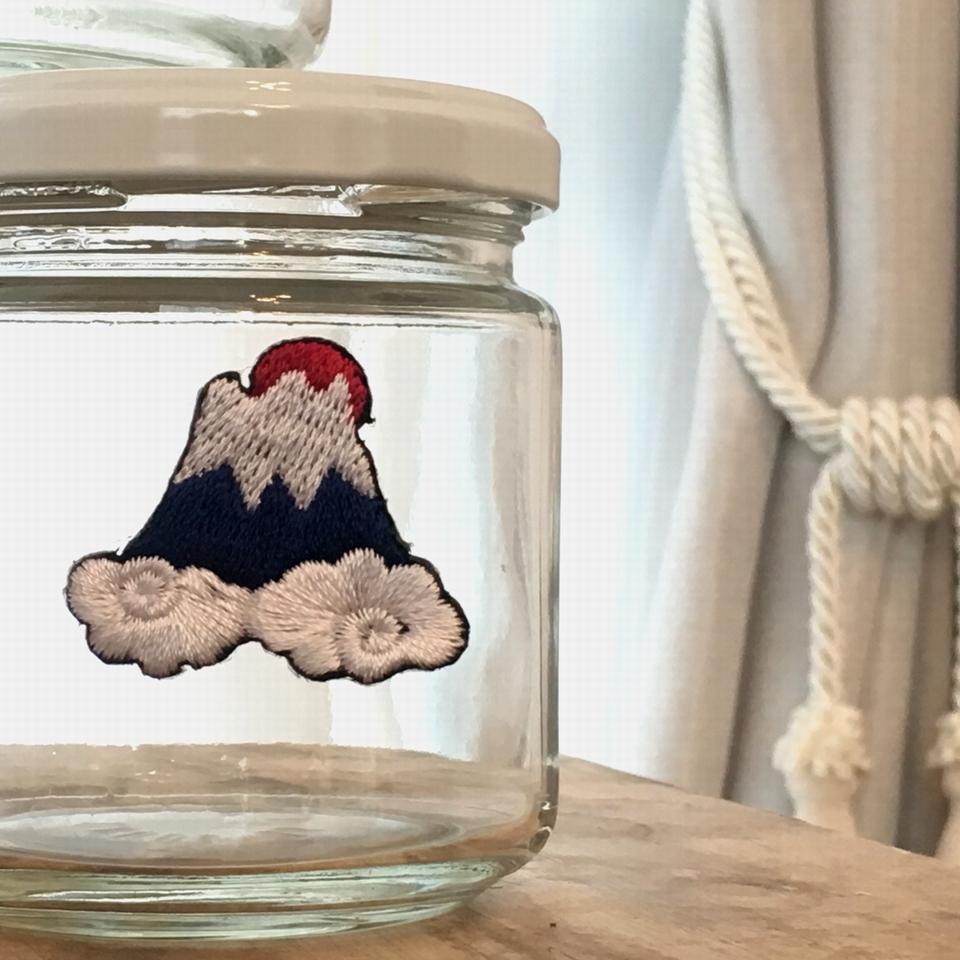 富士山日ノ出刺繍ワッペン/瓶へ貼る