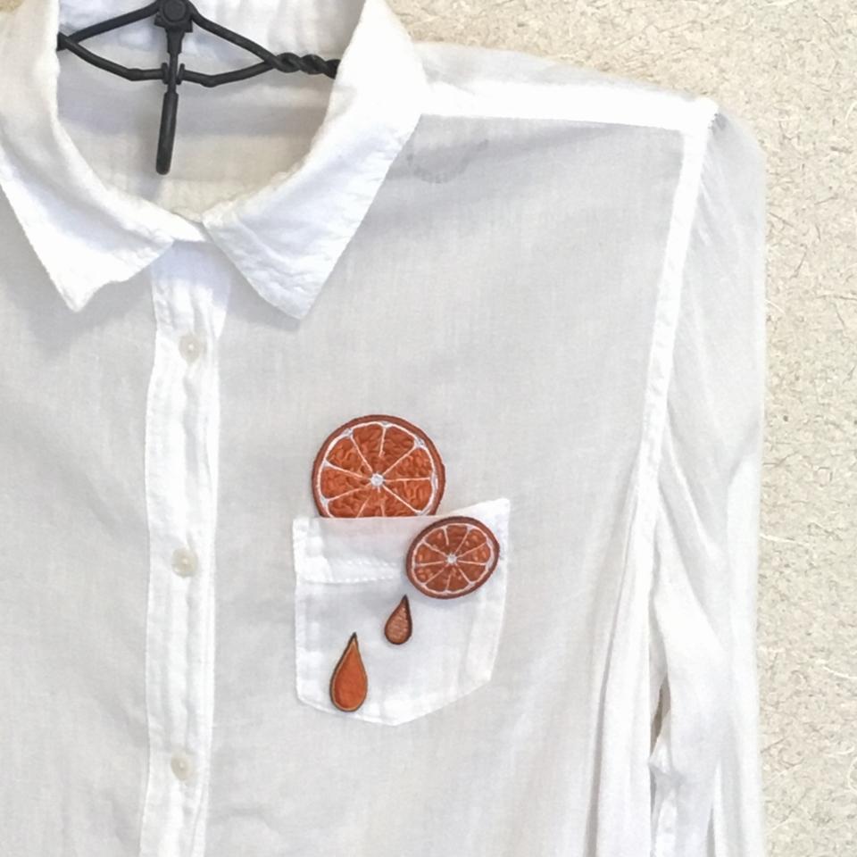 フルーツワッペン オレンジ/シャツMLアップ