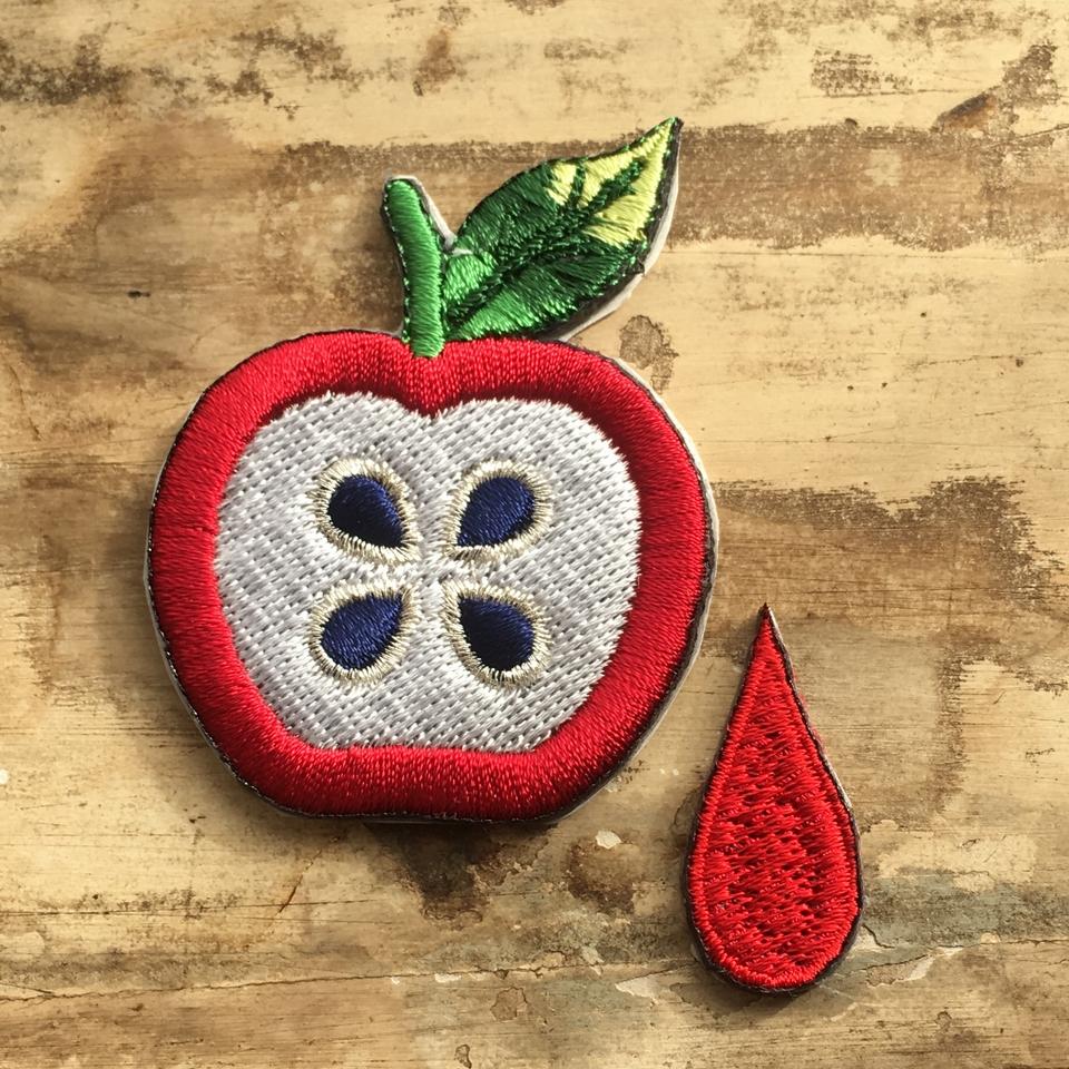 フルーツワッペン リンゴ/しずくL
