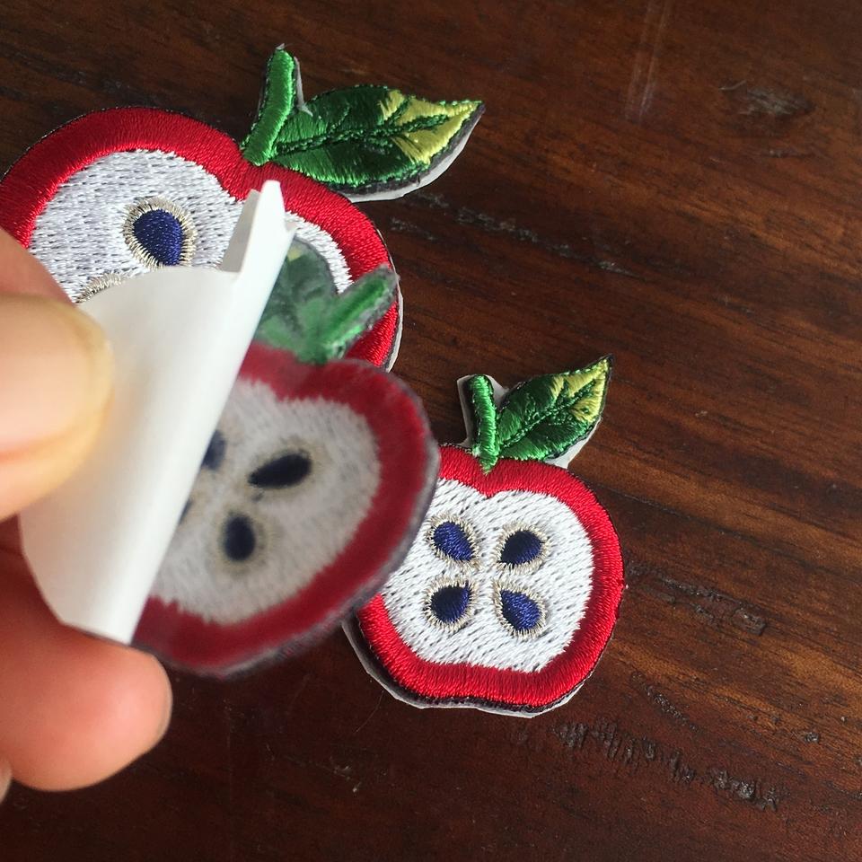 フルーツワッペン リンゴ/背面加工