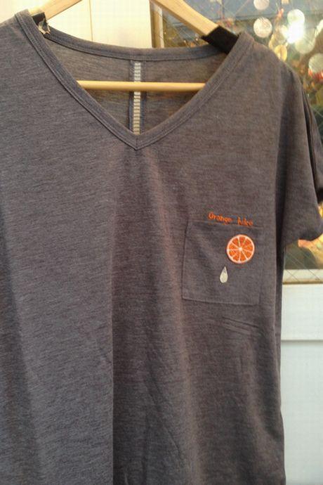 orangeワッペン写真TシャツM