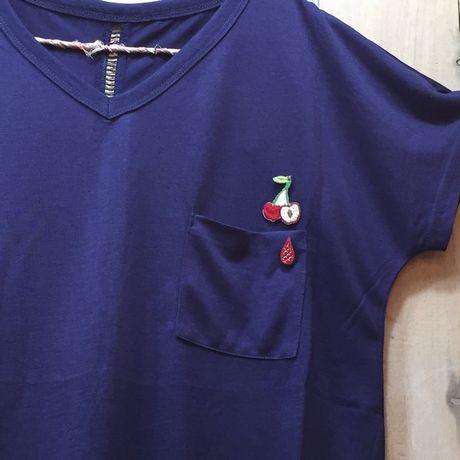 さくらんぼワッペン写真Tシャツ