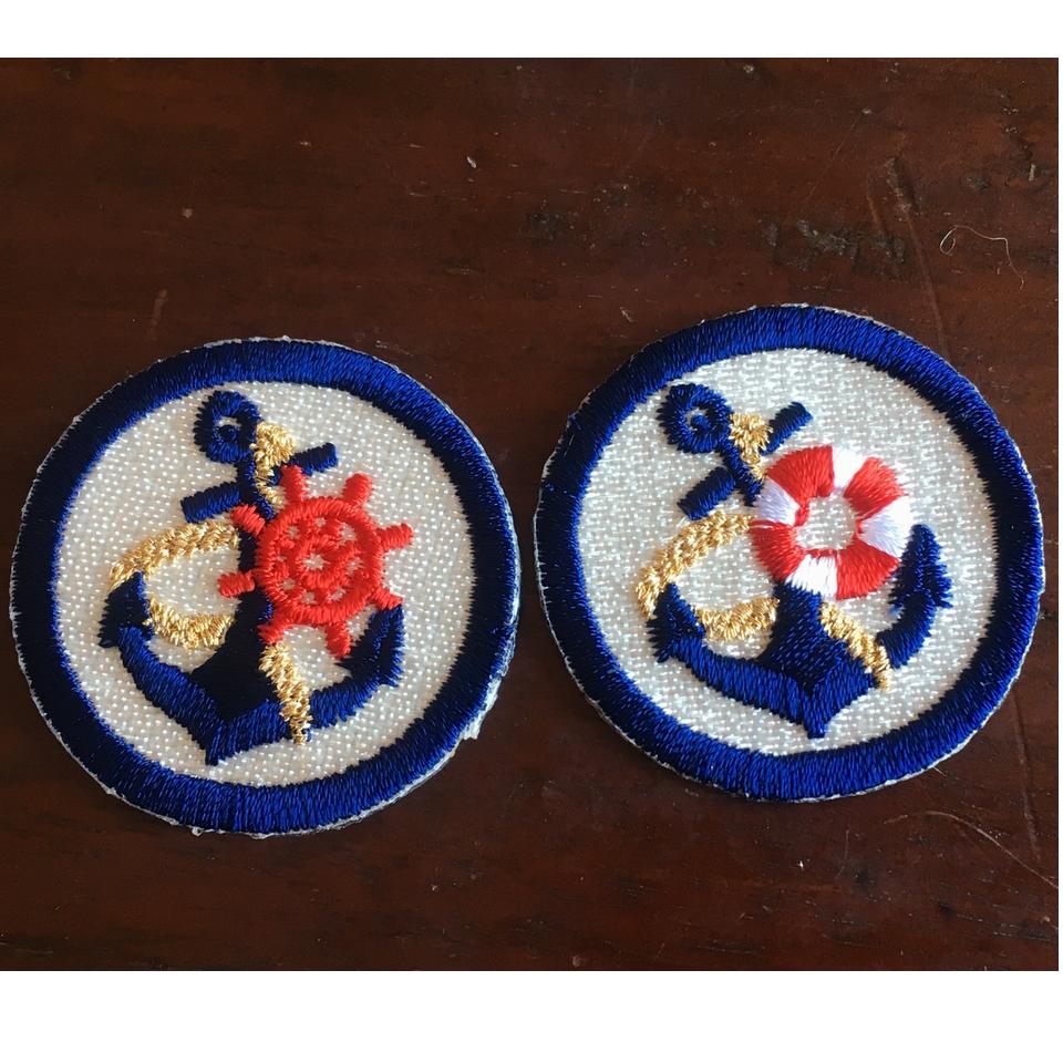 マリン刺繍ワッペン/浮き輪:舵とペア
