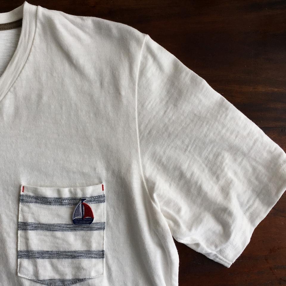 トリコロールヨット刺繍ワッペンTシャツ