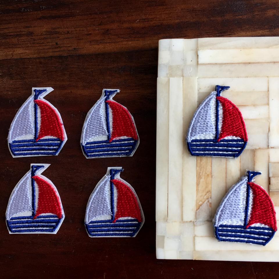 トリコロールヨット刺繍ワッペン6枚