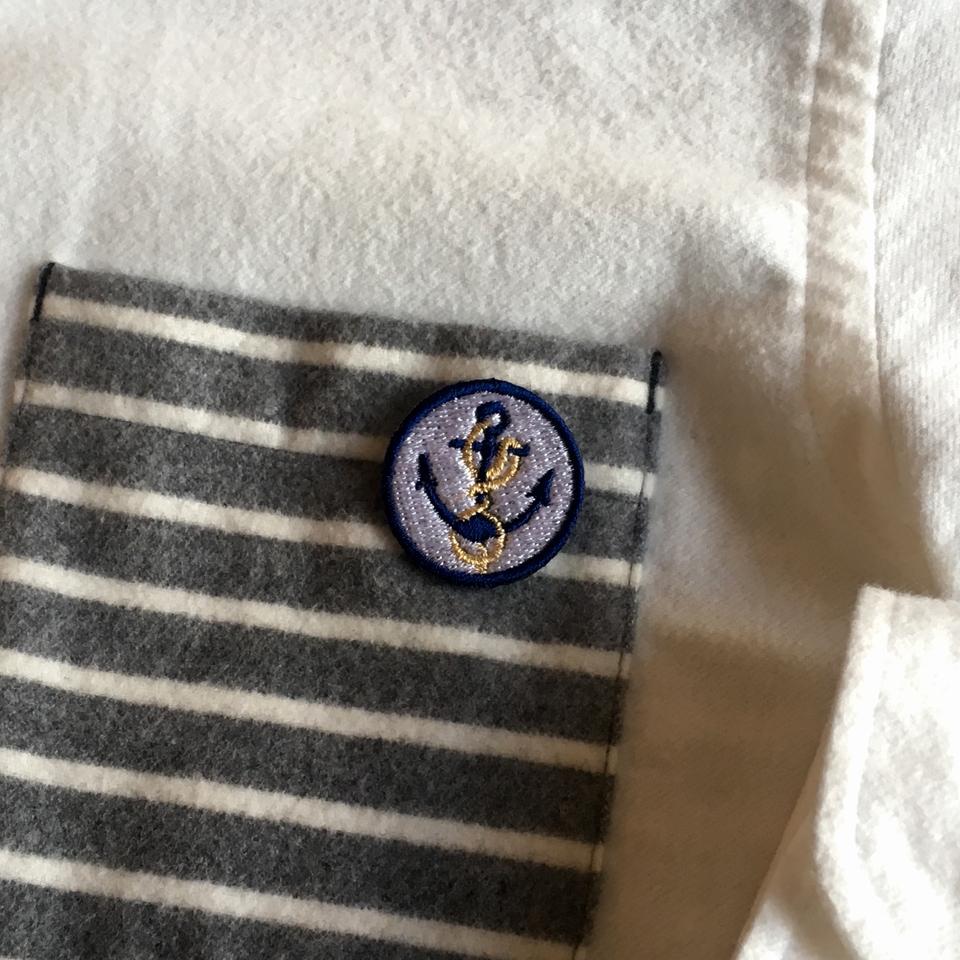 マリン刺繍ワッペン/碇:ポケット